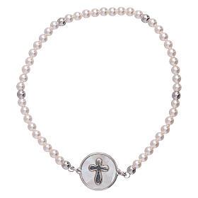 AMEN bracelets: AMEN 925 sterling silver bracelet with a  mother of pearl cross medalet