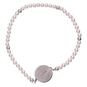 AMEN 925 sterling silver bracelet with a  mother of pearl cross medalet s2