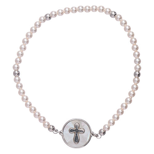 AMEN 925 sterling silver bracelet with a  mother of pearl cross medalet 1