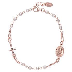 Bracciale AMEN rosario Giubileo perle Swarovski argento 925 rosè s1