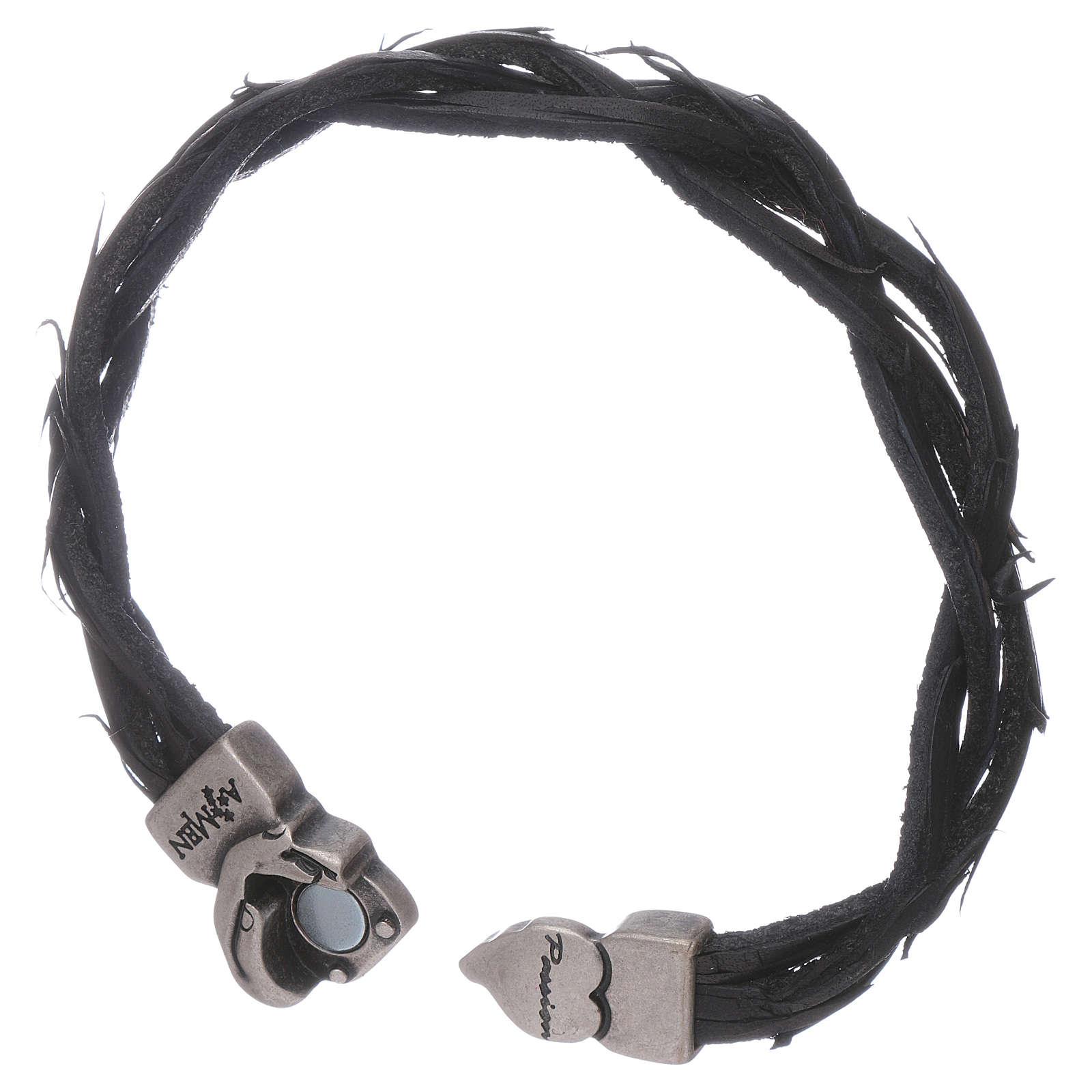 Bracciale AMEN simbolo della Passione e pelle intrecciata nero 4