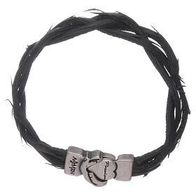 Bracciale AMEN simbolo della Passione e pelle intrecciata nero s1
