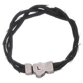Bracciale AMEN simbolo della Passione e pelle intrecciata nero s2