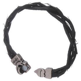 Bracciale AMEN simbolo della Passione e pelle intrecciata nero s3