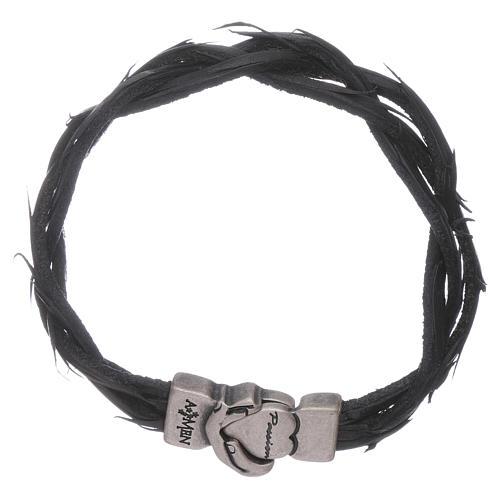 Bracciale AMEN simbolo della Passione e pelle intrecciata nero 1