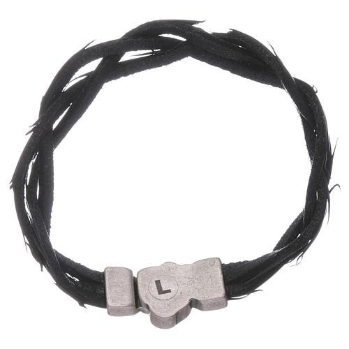 Bracciale AMEN simbolo della Passione e pelle intrecciata nero 2