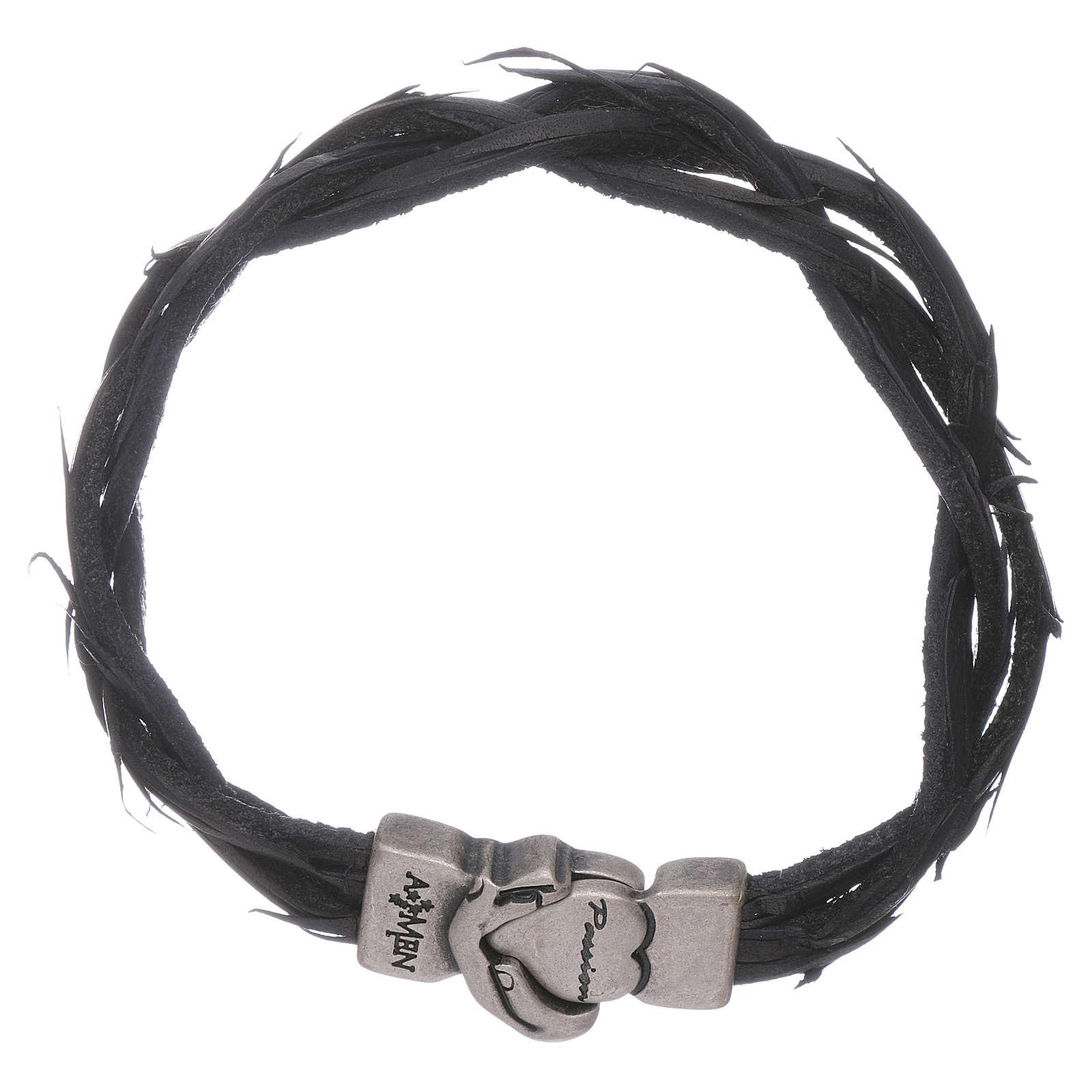 AMEN black woven leather Passion symbol bracelet 4
