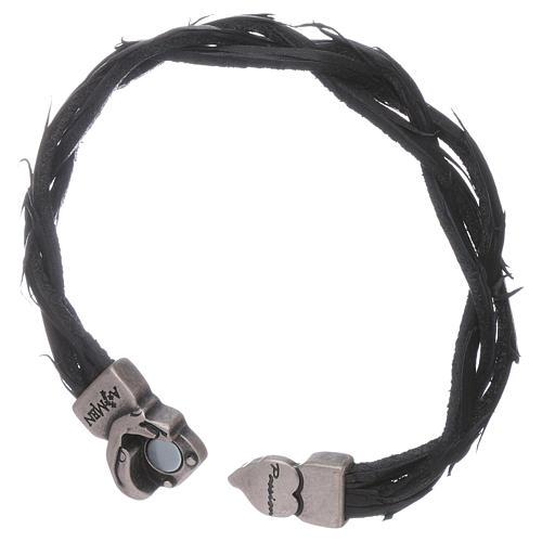 AMEN black woven leather Passion symbol bracelet 3