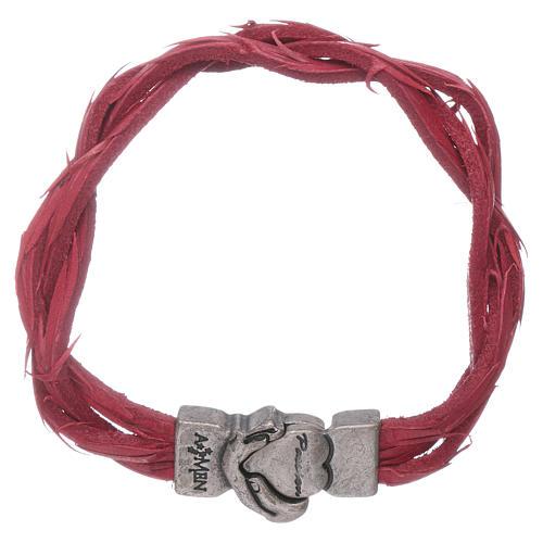 Bracciale AMEN rosso pelle intrecciata con simbolo della Passione 1