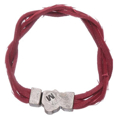 Bracciale AMEN rosso pelle intrecciata con simbolo della Passione 2