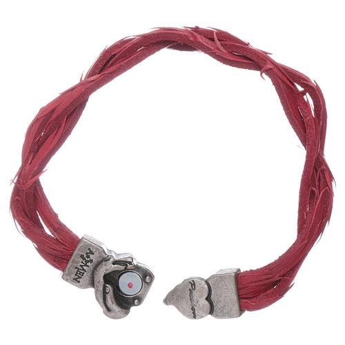 Bracciale AMEN rosso pelle intrecciata con simbolo della Passione 3