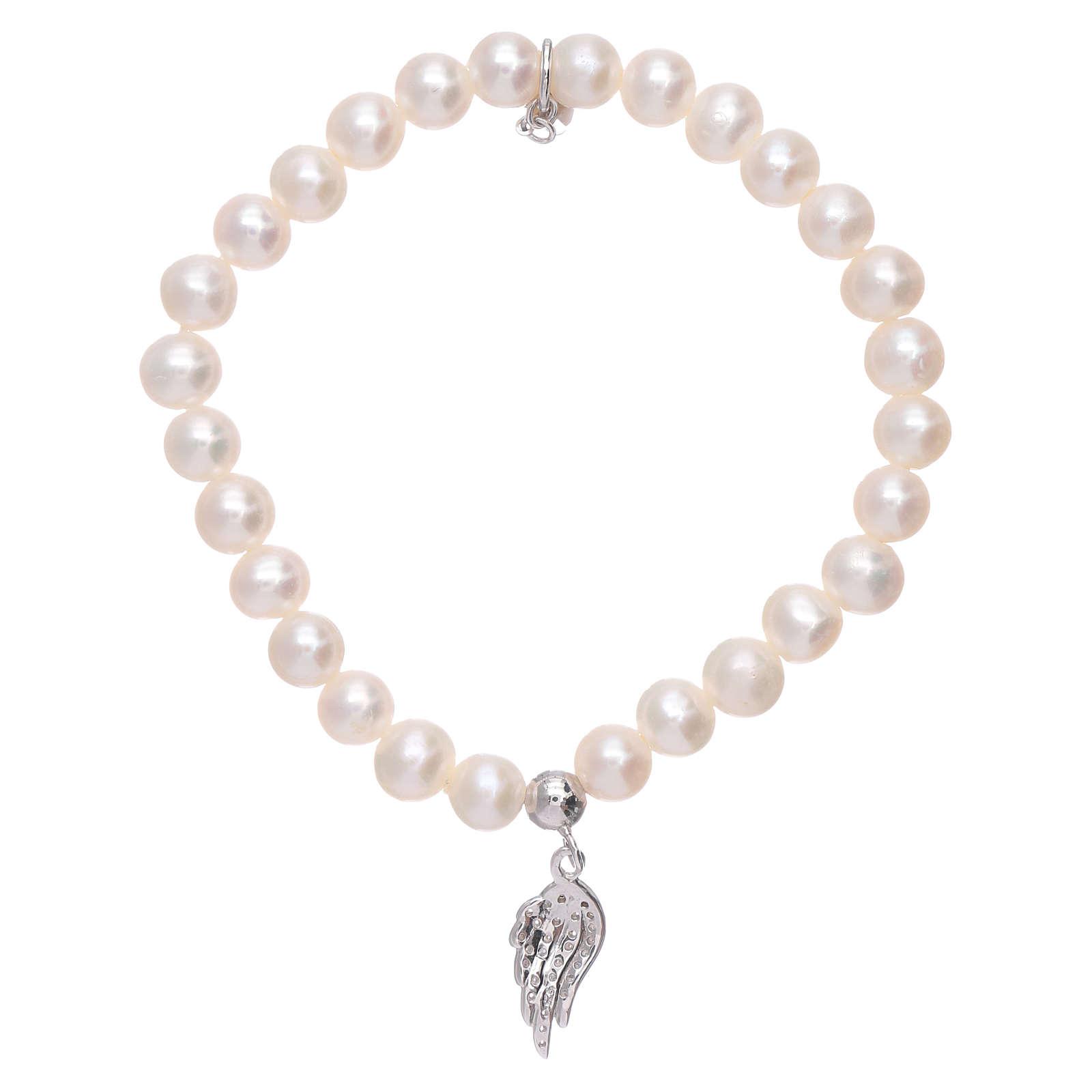 Bracciale AMEN con ala argento 925 zirconata bianca e perle 4
