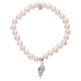 Bracciale AMEN con ala argento 925 zirconata bianca e perle s2