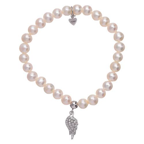 Bracciale AMEN con ala argento 925 zirconata bianca e perle 1