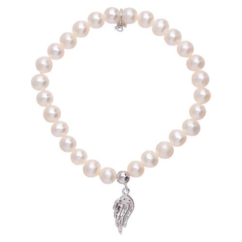 Bracciale AMEN con ala argento 925 zirconata bianca e perle 2