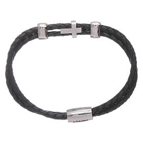 AMEN woven leather bracelet with zirconate cross and inserts s2