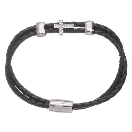 AMEN woven leather bracelet with zirconate cross and inserts 1