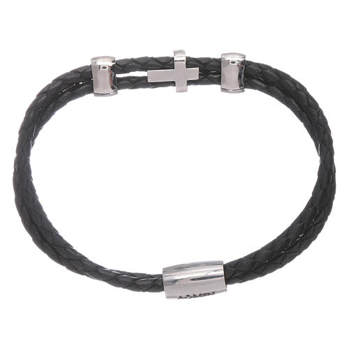 AMEN woven leather bracelet with zirconate cross and inserts 2