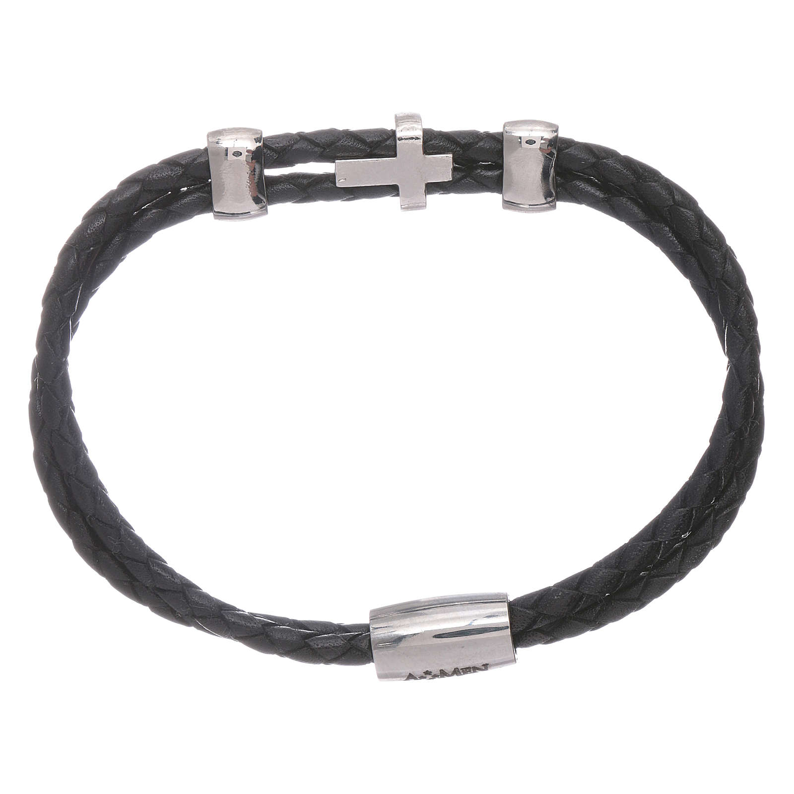 Bracelet AMEN inserts et croix zircons cuir tressé 4