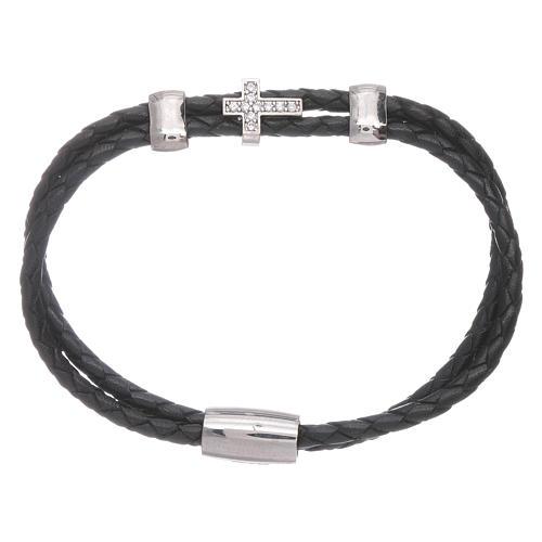 Bracelet AMEN inserts et croix zircons cuir tressé 1