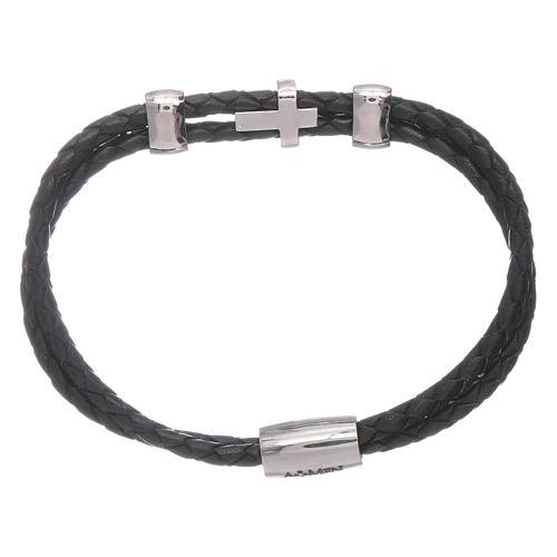 Bracelet AMEN inserts et croix zircons cuir tressé 2