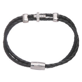 AMEN woven leather bracelet with zirconate cross and inserts s1