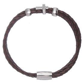 AMEN bracelets: AMEN brown woven leather bracelet with inserts and zirconate cross