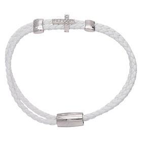 AMEN bracelets: AMEN white leather bracelet with a 925 sterling silver zirconate cross