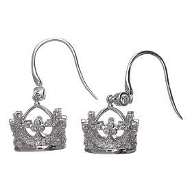 Pendientes colgantes AMEN corona plata 925 y zircones blancos s2
