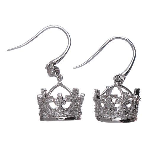 Pendientes colgantes AMEN corona plata 925 y zircones blancos 1