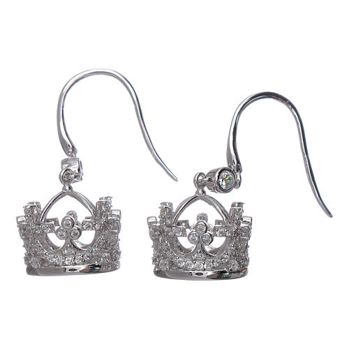 Pendientes colgantes AMEN corona plata 925 y zircones blancos 2