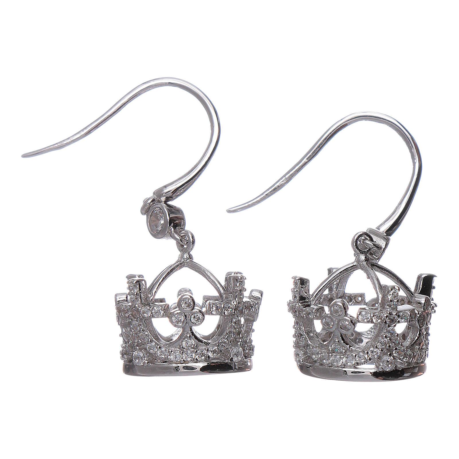 Boucles pendentifs AMEN couronne argent 925 et zircons blancs 4