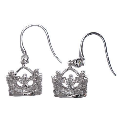 Boucles pendentifs AMEN couronne argent 925 et zircons blancs 2