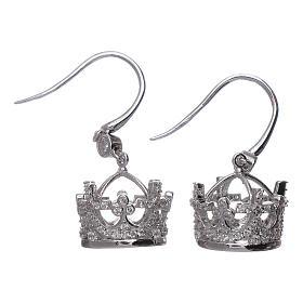 Pingentes, Cruzes, Broches, Correntes: Brincos pingentes AMEN coroa prata 925 e zircões brancos