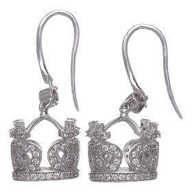 Orecchini AMEN pendenti a corona argento 925 zirconi bianchi s2