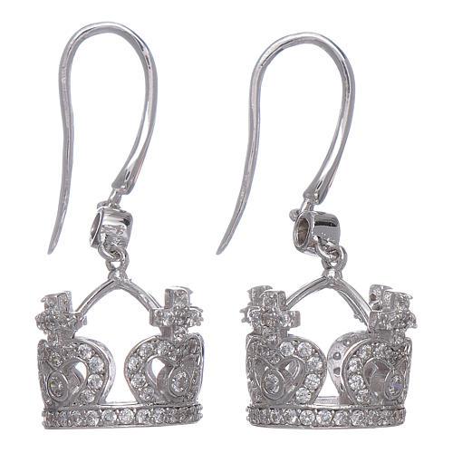 Orecchini AMEN pendenti a corona argento 925 zirconi bianchi 1