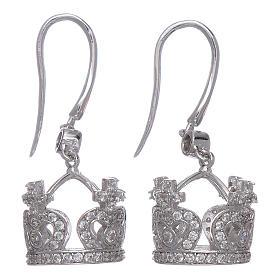 Pingentes, Cruzes, Broches, Correntes: Brincos AMEN pingentes coroa prata 925 zircões brancos