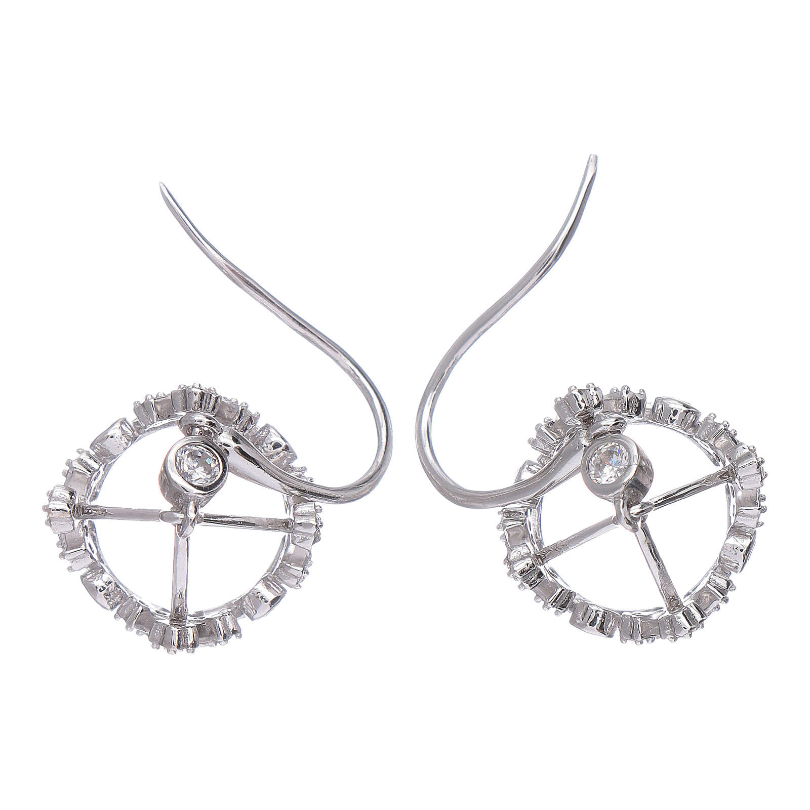 Earrings AMEN pendant in 925 sterling silver crown shape with clover cross and white zircons 4