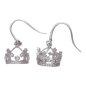 Earrings AMEN pendant in 925 sterling silver crown shape with clover cross and white zircons s2