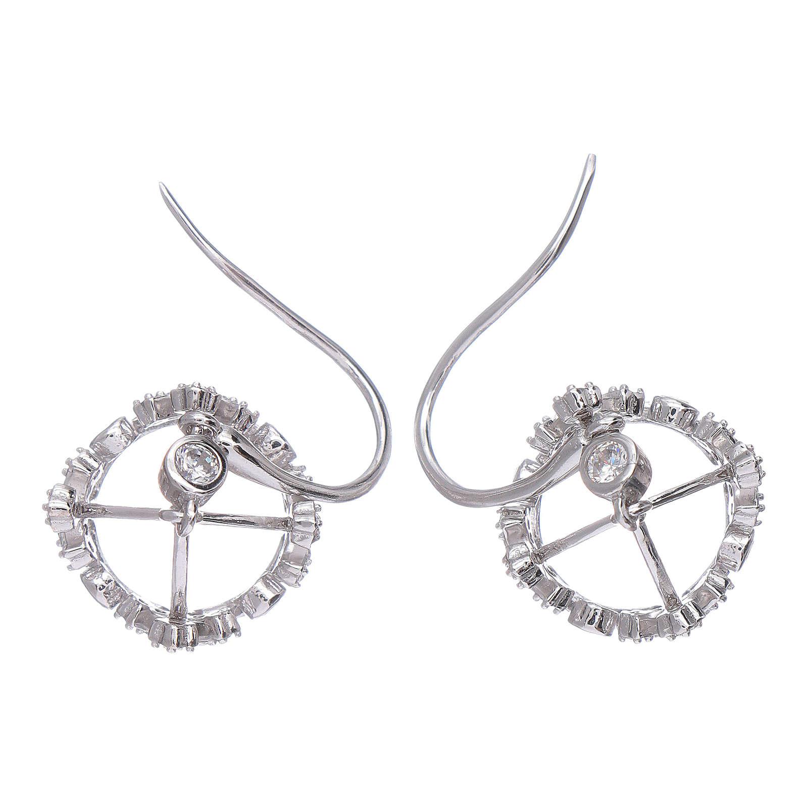 Pendientes colgantes AMEN con corona plata 925 zircones blancos 4