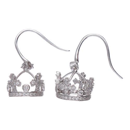 Pendientes colgantes AMEN con corona plata 925 zircones blancos 2