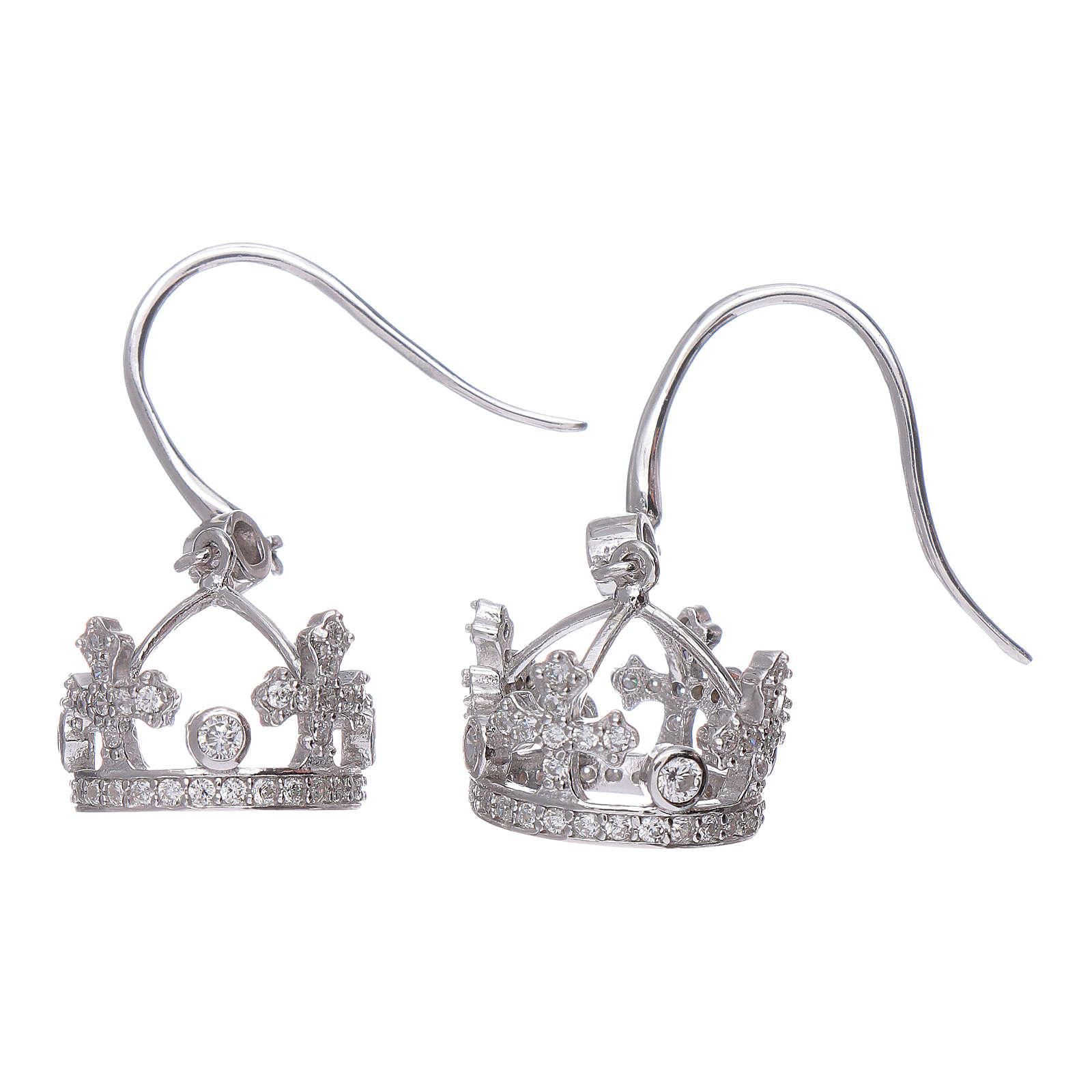Orecchini pendenti AMEN con corona argento 925 zirconi bianchi 4
