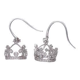 Orecchini pendenti AMEN con corona argento 925 zirconi bianchi s2