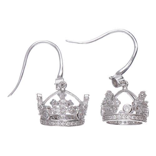 Orecchini pendenti AMEN con corona argento 925 zirconi bianchi 1