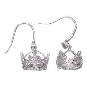 Pingentes, Cruzes, Broches, Correntes: Brincos pingentes AMEN com coroa prata 925 zircões brancos