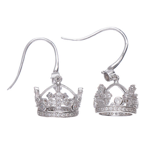 Earrings AMEN pendant in 925 sterling silver crown shape with clover cross and white zircons 1