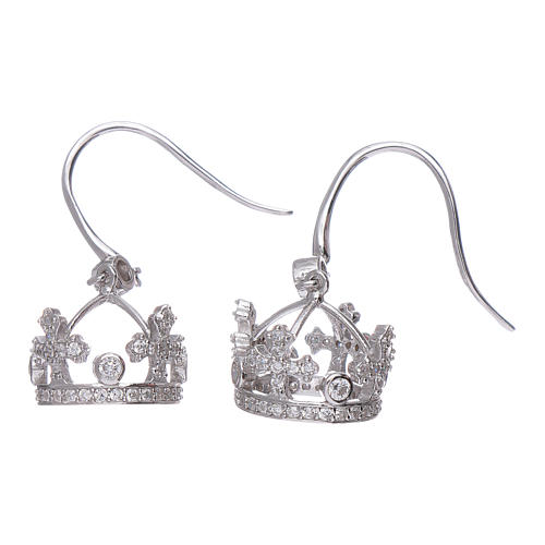 Earrings AMEN pendant in 925 sterling silver crown shape with clover cross and white zircons 2