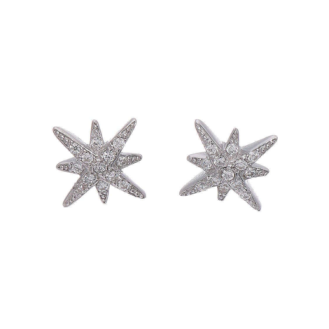 Orecchini AMEN forma Stella Ventis arG. 925 rodio e zirconi bianchi 4