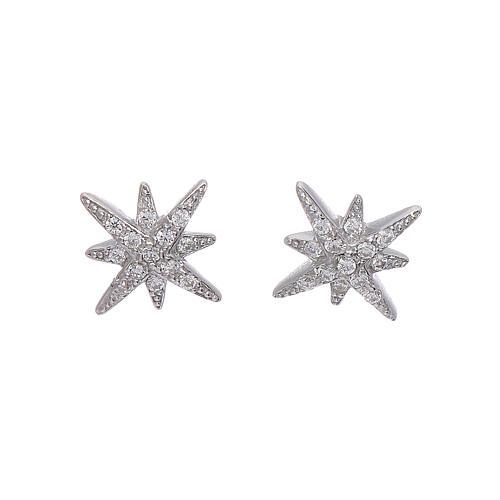 Orecchini AMEN forma Stella Ventis arG. 925 rodio e zirconi bianchi 1