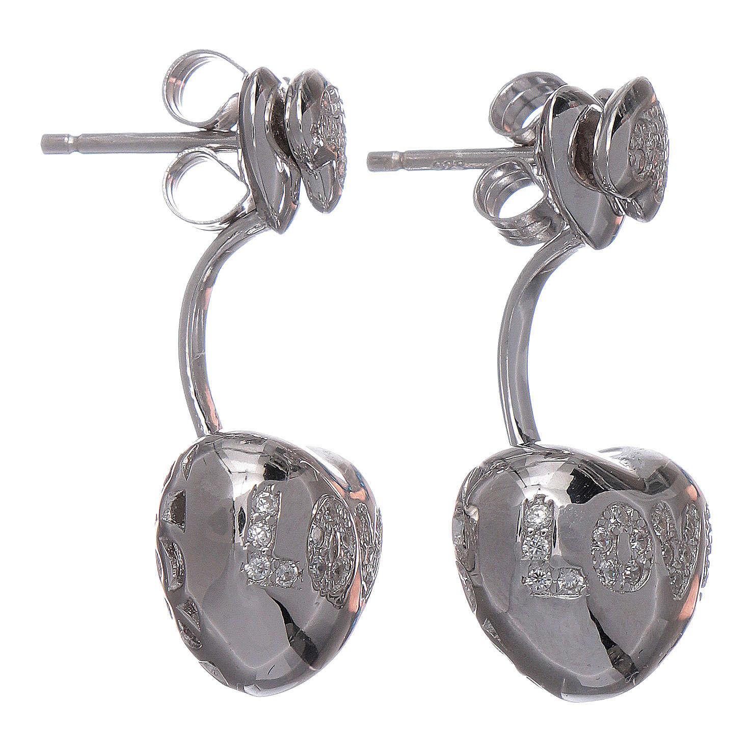 Orecchini pendenti AMEN doppio cuore argento 925 zirconi bianchi 4